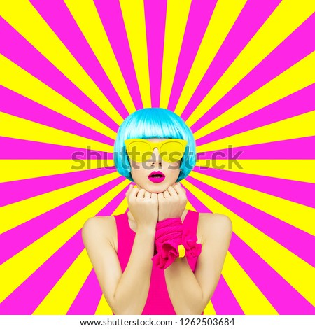 Minimal collage art.  Colorful Lady on the geometric background. Spring is coming