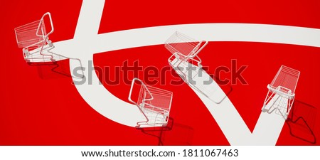 Minimal composition for shopping and supermarket concept. White shopping cart trolley and white path on red background. 3d rendering illustration. Clipping path of each element included.