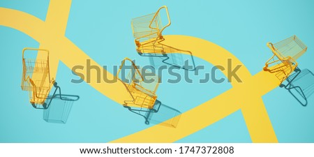Minimal composition for shopping and supermarket concept. Yellow shopping cart trolley and yellow path on blue background. 3d rendering illustration.