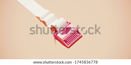 Minimal composition for social media and workplace concept. Pink vintage typewriter machine and paper roll on pastel background. 3d rendering illustration. Stockfoto ©