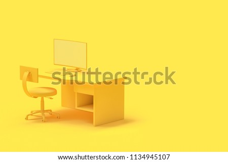 Minimal concept, computer on table and chair yellow color with copy space for your text. 3d render.