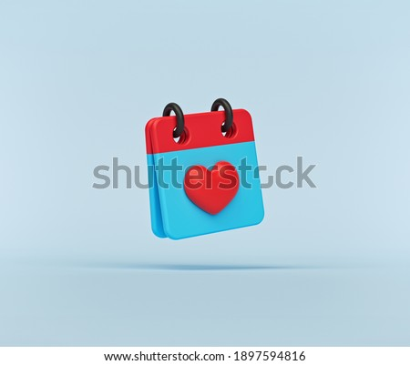 minimal concept. February 14 Valentines day Calendar icon isolated. 3d rendering