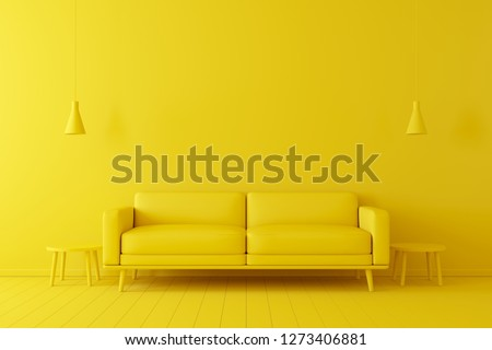 Photo of  Minimal concept. interior of living yellow tone on yellow floor and background.