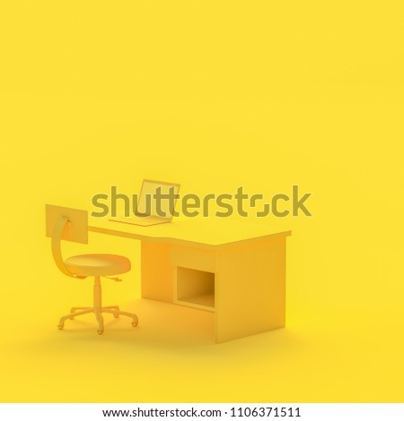 Minimal concept, Laptop on table and chair yellow color with copy space for your text. 3d render.