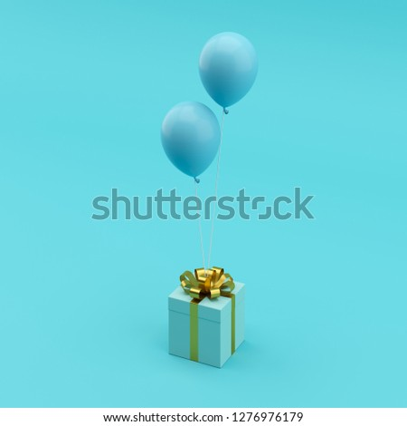 Minimal concept. outstanding blue gift box with gold ribbon with blue balloon on blue background.