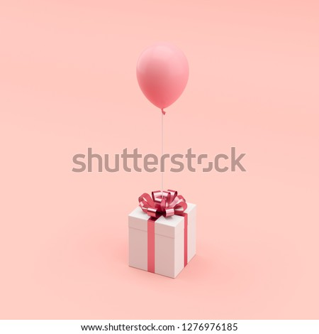 Minimal concept. outstanding white gift box with pink ribbon with pink balloon on blue background.