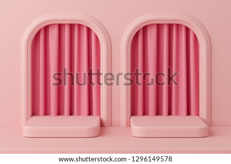 Minimal concept pink color podium with curtain for product. 3d rendering