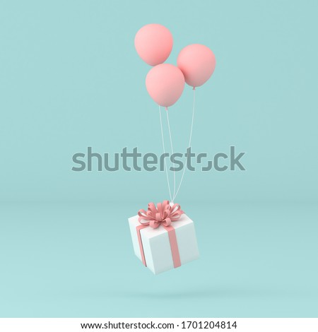 Minimal conceptual idea of present box floating by balloons on pastel background. 3D rendering