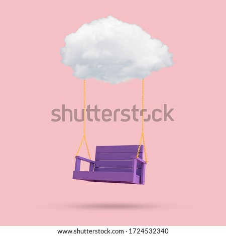 Minimal conceptual image of blue swing chair floating by the cloud on pink background. 3D rendering ストックフォト ©