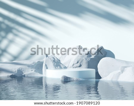 Minimal cool-tone background for product and cosmetic presentation. The white stone podium on the water in front of Sunshade shadow with a cold winter mood. realistic, render 3d  illustration. Foto d'archivio ©
