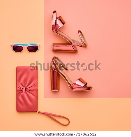 Minimal.Coral Art Colorful Style. Glamor fashion Metallic Pink shoes Heels. Trendy Sunglasses. Flat lay. Handbag Clutch. Luxury Shiny fashionable lifestyle lady.