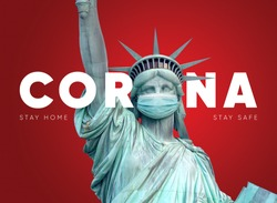 Minimal corona concept with  Newyork's symbol wear medical mask. The message about virus ''Stay home'' and ''Stay safe'' for (covid-19) in NYC, USA (United States of America) corona virus concept