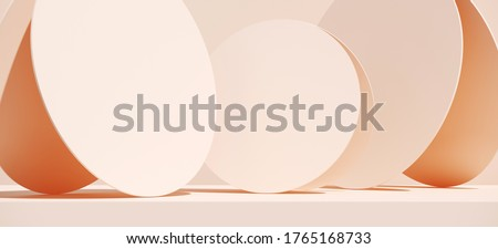 Minimal cosmetic background for product presentation. Beige podium and circular panel on beige background. 3d render illustration. Object isolate clipping path included. stock photo