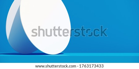 Minimal cosmetic background for product presentation. Blue podium and circular panel on blue background. 3d render illustration. Object isolate clipping path included. stock photo