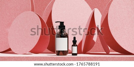 Minimal cosmetic background for product presentation. Cosmetic bottle and pink podium on circular panel background. 3d render illustration. Object isolate clipping path included. stock photo