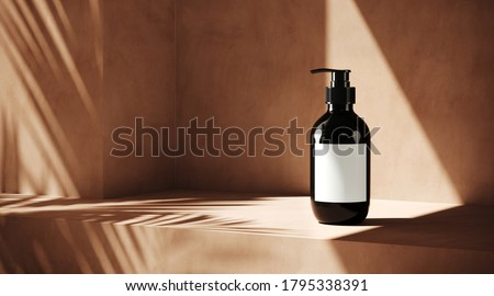 Minimal cosmetic background for product presentation. Cosmetic bottle with sunshade shadow on beige plaster wall. 3d render illustration. Object isolate clipping path included.