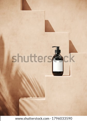 Minimal cosmetic background for product presentation. Cosmetic bottle with sunshade shadow on beige step plaster wall. 3d render illustration. Object isolate clipping path included. stock photo
