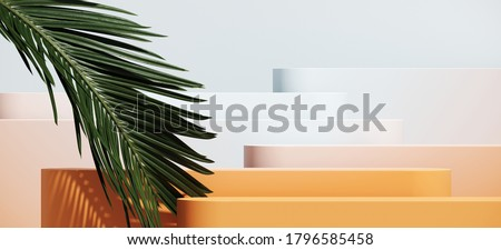 Minimal cosmetic background for product presentation. Gradient color podium and green palm leaf on blue background. 3d render illustration. Object isolate clipping path included.