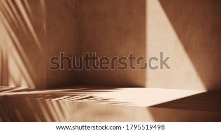 Minimal cosmetic background for product presentation. Sunshade shadow on beige plaster wall. 3d render illustration. Object isolate clipping path included.