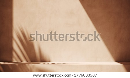 Minimal cosmetic background for product presentation. Sunshade shadow on beige plaster wall. 3d render illustration. Object isolate clipping path included. stock photo