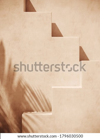 Minimal cosmetic background for product presentation. Sunshade shadow on beige step plaster wall. 3d render illustration. Object isolate clipping path included.