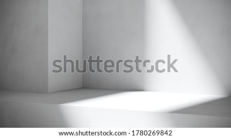 Minimal cosmetic background for product presentation. Sunshade shadow on geometric plaster background. 3d render illustration.
