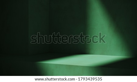 Minimal cosmetic background for product presentation. Sunshade shadow on green plaster wall. 3d render illustration.