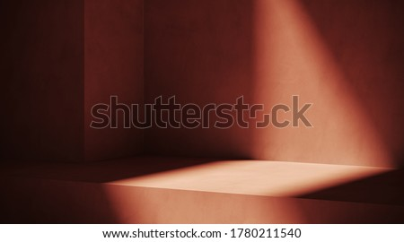 Minimal cosmetic background for product presentation. Sunshade shadow on red plaster wall. 3d render illustration.