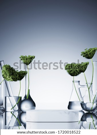 Minimal cosmetic composition for natural and organic concept. White marble podium and blur background of green leaves in set of laboratory glassware. 3d rendering illustration.