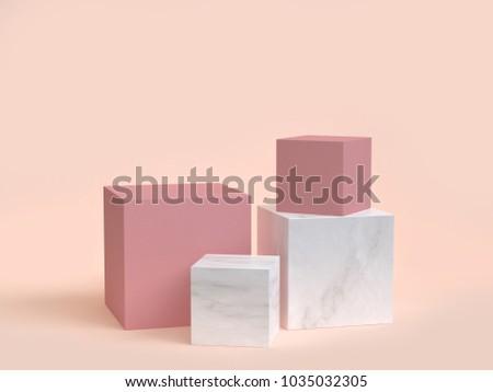 minimal cream background pink marble cube-box podium 3d rendering