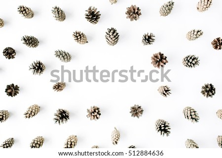 minimal creative cone frame arrangement pattern on white. flat lay, top view. christmas background wallpaper.