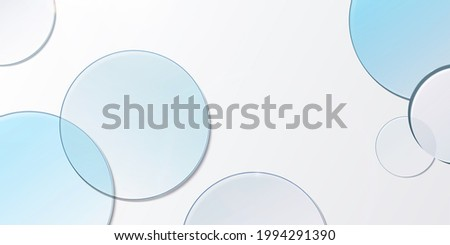 Minimal 3D product display background with blue glass blue transparent disk in top view.