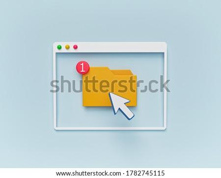 minimal design. folder and cursor icon in computer window. 3d rendering