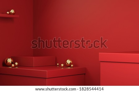 Minimal Empty Geometry Abstract Primitive Platform Shape  Red Box With Gold Ball Background 3d Render