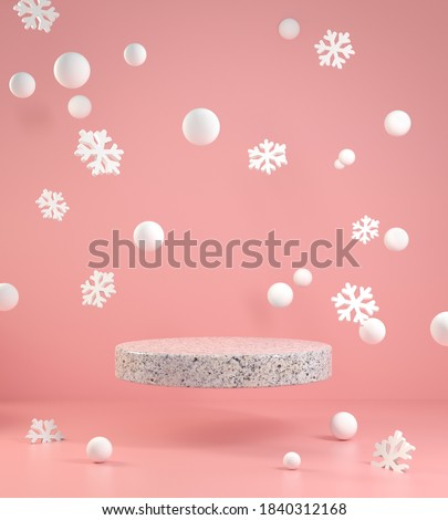 Minimal Empty Podium Float With Snow And Snowflake Pink Falling On Pink Background 3d Render