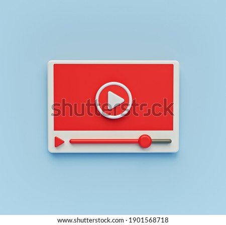 minimal flat style video player icon isolated. 3d rendering