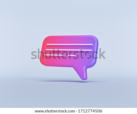minimal gradient chat bubble. concept of social media messages, SMS, comments. 3d rendering