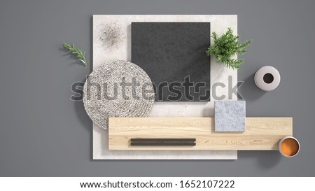 Minimal gray background with copy space, marble limestone and granite slabs, wooden plank, cutting board, rosemary and pepper and decors. Kitchen interior design concept, mood board, 3d illustration 商業照片 ©