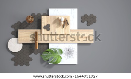 Minimal gray background with copy space, marble slab, wooden planks, cutting board, mosaic tiles, monstera leaf, eggs, pins and decors. Kitchen interior design concept, mood board, 3d illustration 商業照片 ©
