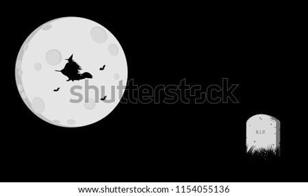Minimal halloween style illustration design background with moon, bats, witch, and grave stone on grassfield.