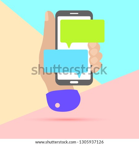 minimal hand holding mobile phone with chat message notifications with shadow on pastel colored blue and pink background. Arm with smartphone and chatting bubble speeches. Text messaging flat design