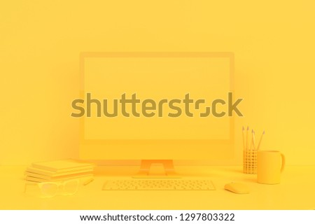 MInimal idea concept, Computer  mock-up on Work desk wooden table with notebook, keyboard, mouse, and pencil yellow color on yellow background. 3d render.