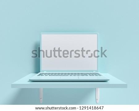 Minimal idea concept. Laptop  mock-up on shelf wooden blue pastel color on concrete wall background. 3d render.
