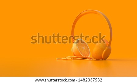 Minimal idea concept. Orange headphone on orange background with copy space for your text. 3D Render. Foto stock ©