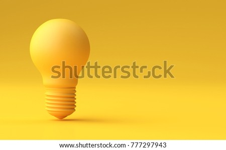 Minimal Idea Design Concept Yellow bulb on yellow pastel background - 3d illustration.