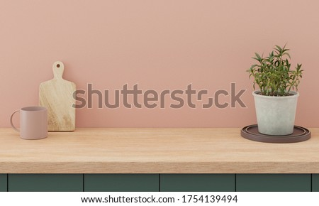 Minimal kitchen interior mock up design for product presentation background or branding concept with green counter bright wood top and pink wall include vase with plant chopping block and glass