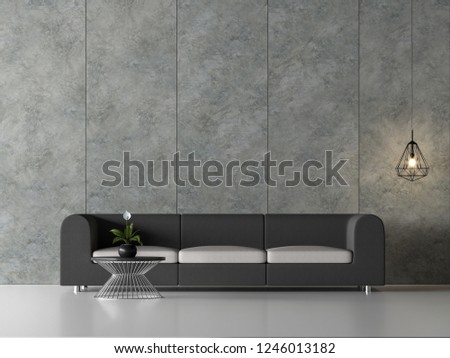 Minimal loft living room 3d render,There are white floor,polished concrete wall with vertical groove,decorate with black wire lamp,Furnished with dark gray fabric sofa.