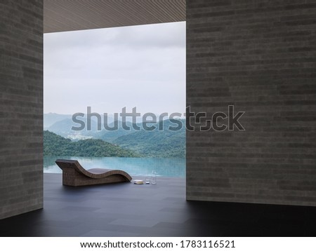 Minimal loft style swimming pool terrace with mountain view 3d render,there are black tile,concrete wall and wooden plank ceiling,decorate with rattan poolbed,overlooking nature view.
