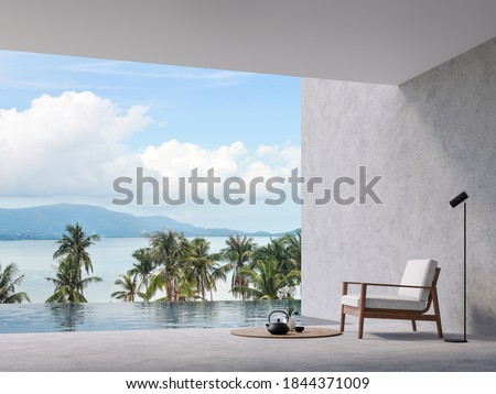 Minimal loft style swimming pool terrace with sea view 3d render,there are concrete floor and wall, decorate with wooden chair,overlooking sea,island and sky view.