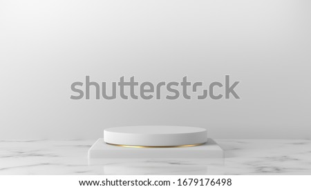 Minimal luxury white design Square box and cylinder circle with gold pedestal podium in white Marble background. concept display stage platform showcase, product, sale, banner, cosmetic. 3D render